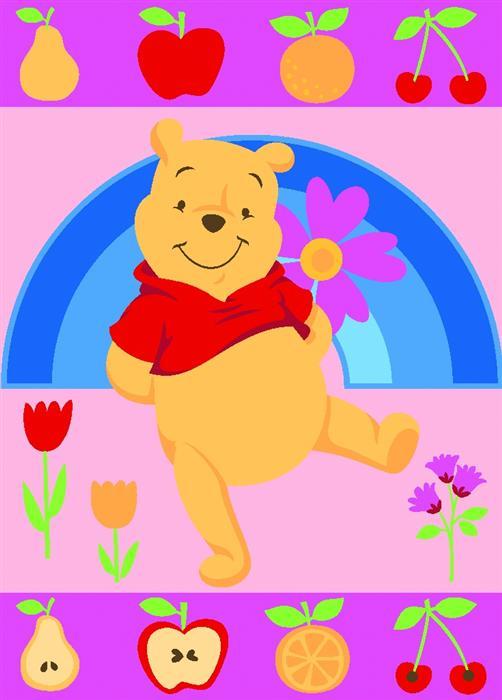 Covoras copii Winnie roz cu fructe