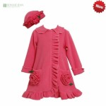 palton fetite roz cu volanase