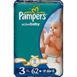 Scutece Pampers Activ Baby 3 Midi Value Pack 62 buc