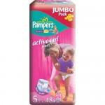 Scutece Pampers Activ Girl 5 Junior Jumbo Pack 48 buc, pentru fete