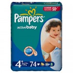 Scutece Pampers Active Baby 4 Maxi Plus Giant Pack 74 buc