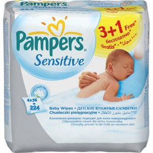 Servetele umede Pampers 3+1 Sensitive
