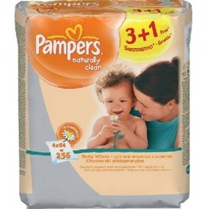 Servetele umede Pampers Naturally Clean 3+1