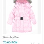 geaca fete iarna roz ieftina