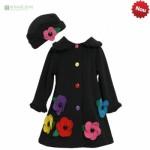 palton si palariuta stofa neagra cu flori aplicate