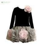 rochita de ocazie neagra cu flori
