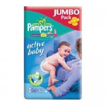 Scutece Pampers Active Baby 4 Maxi Plus Jumbo Pack 62 buc
