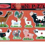 Puzzle de lemn cu sunete Animale de la Ferma